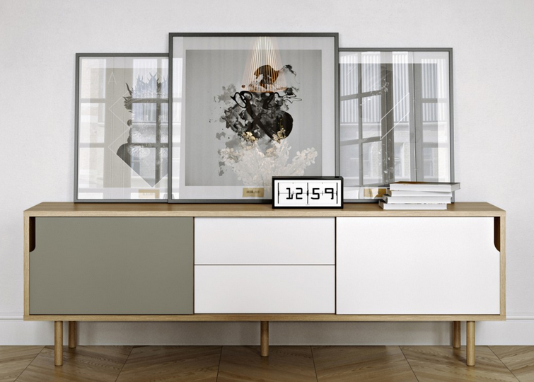 Tv dressoir hifi audio meubel voorzien van schuifpanelen en 2 laden