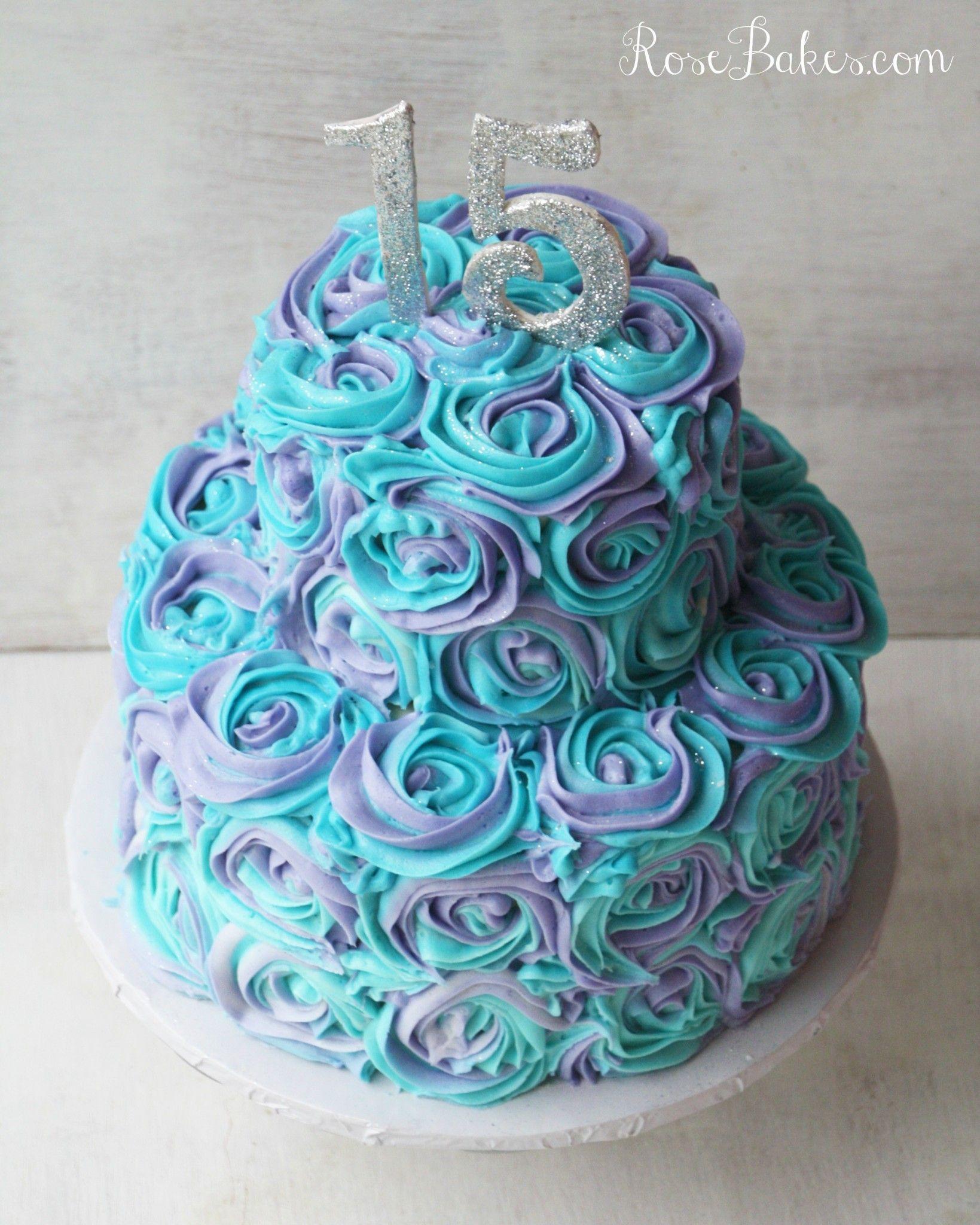 Teal Lavender Swirled Buttercream Roses 15th Birthday Cake 15th
