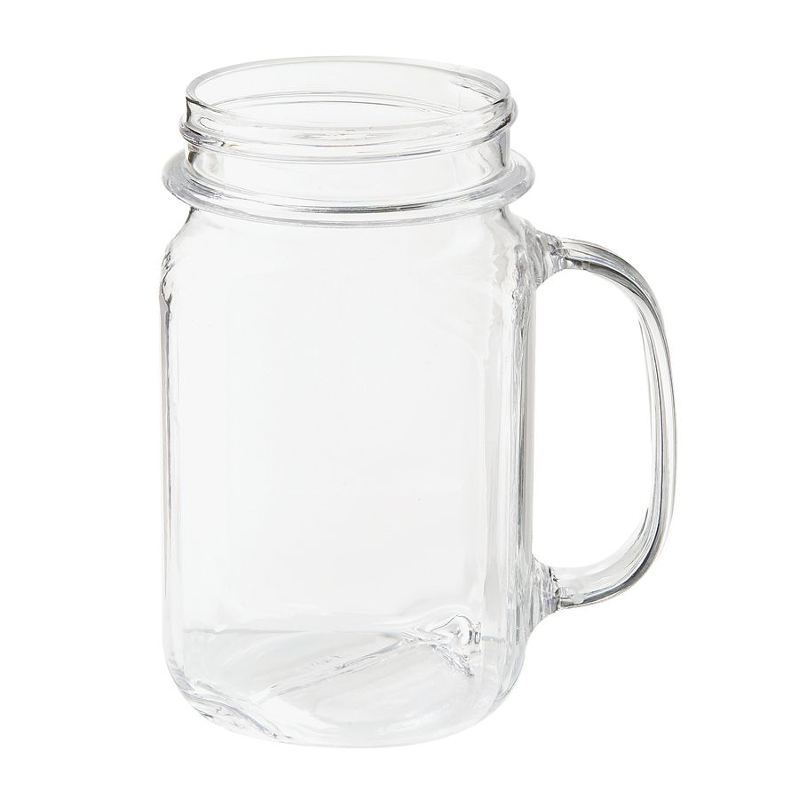 Get Mas 3 Cl Cheers 16 Oz Customizable Plastic Mason Jar Drinking Jar With Handle 24 Case Plastic Mason Jars Mason Jar Mugs Mason Jars With Handles