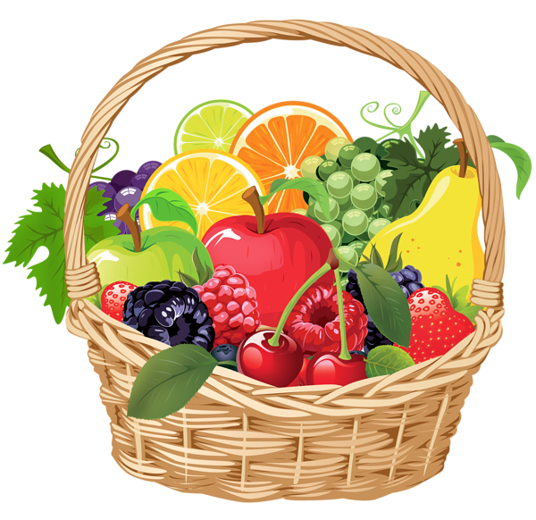 Clip Art Christmas Basket : Fruit basket png vector clipart mix pictures
