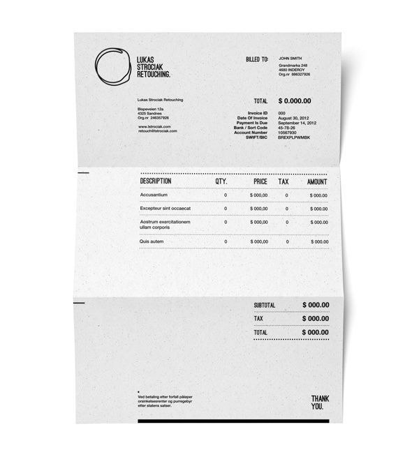 Invoice Design 50 Examples To Inspire You 50th, Editorial design
