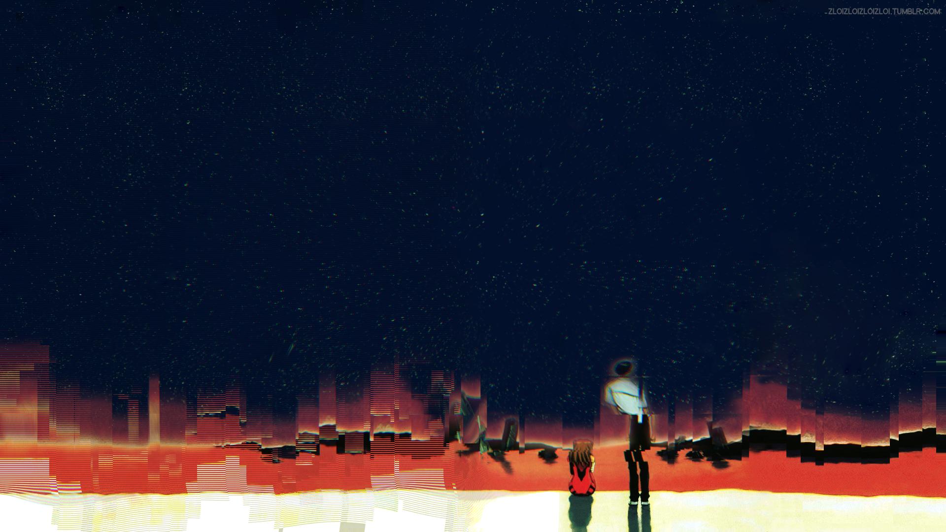 Anime 1920x1080 Glitch Art Abstract Neon Genesis Evangelion