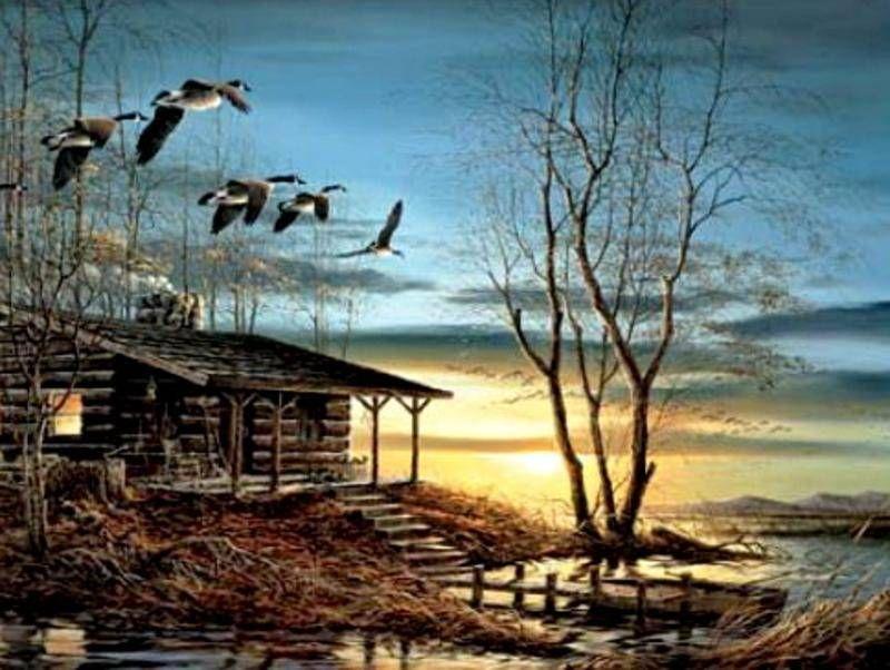 cabane de chasse tableaux peintures atelier de christian fait maison fly away home. Black Bedroom Furniture Sets. Home Design Ideas