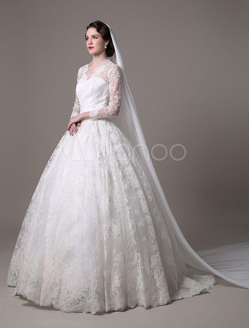 Kate middleton royal wedding dress vintage lace with vneck and long