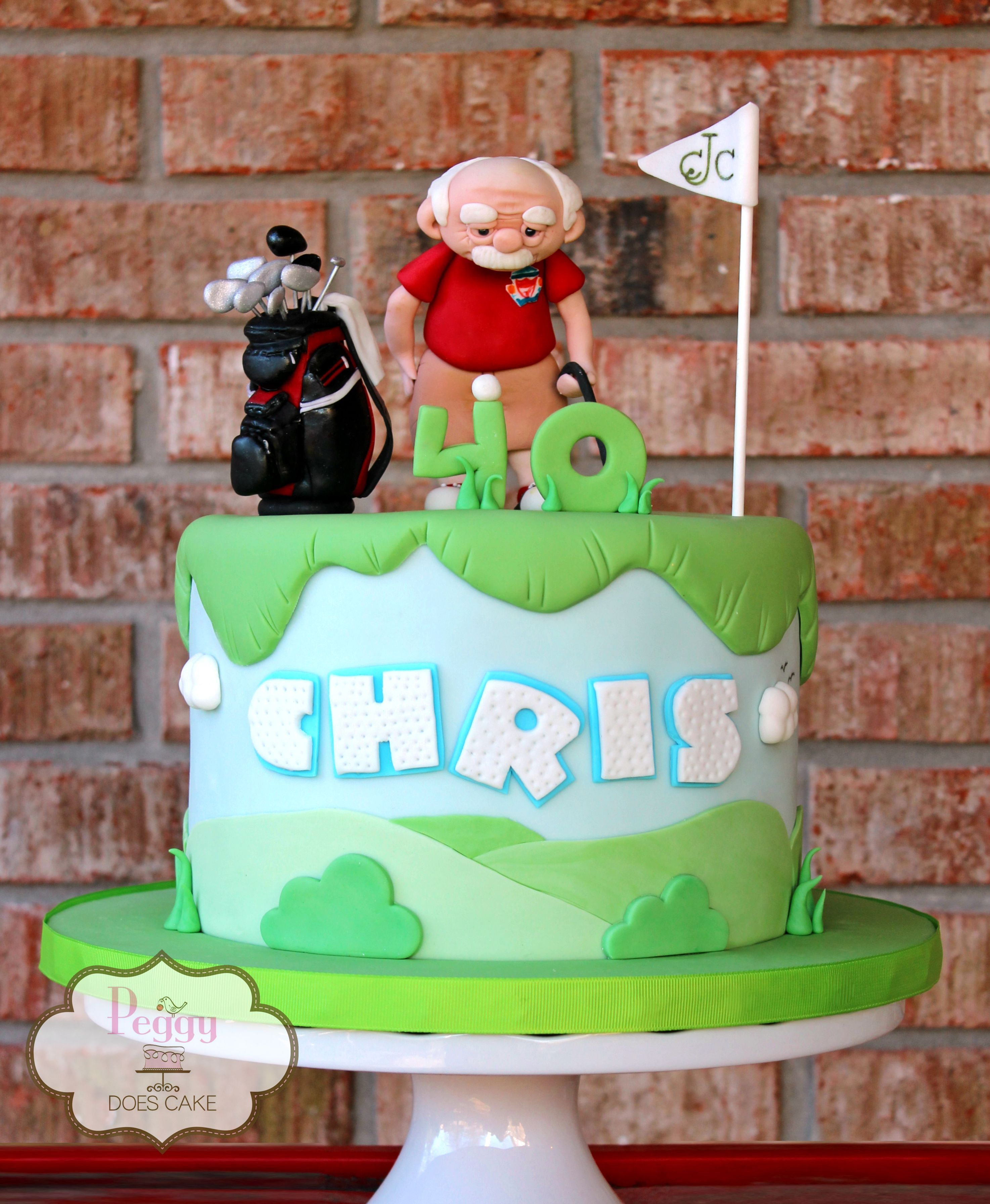 Golf Themed 40th Birthday Cake With Custom Fondant Old Man With