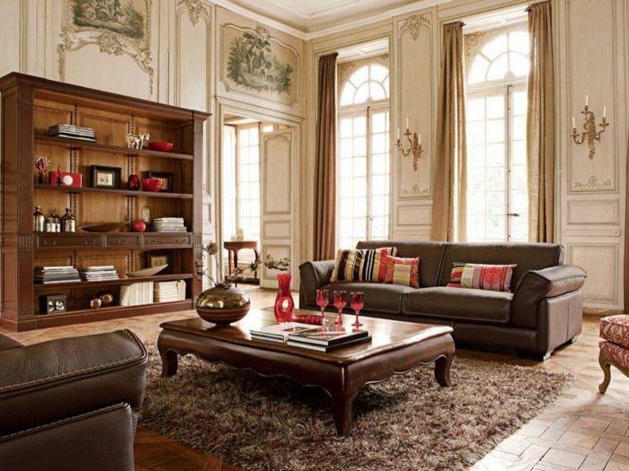 wohnzimmereinrichtung teppich ledersofas wohnwand | Wohnzimmer Ideen ...
