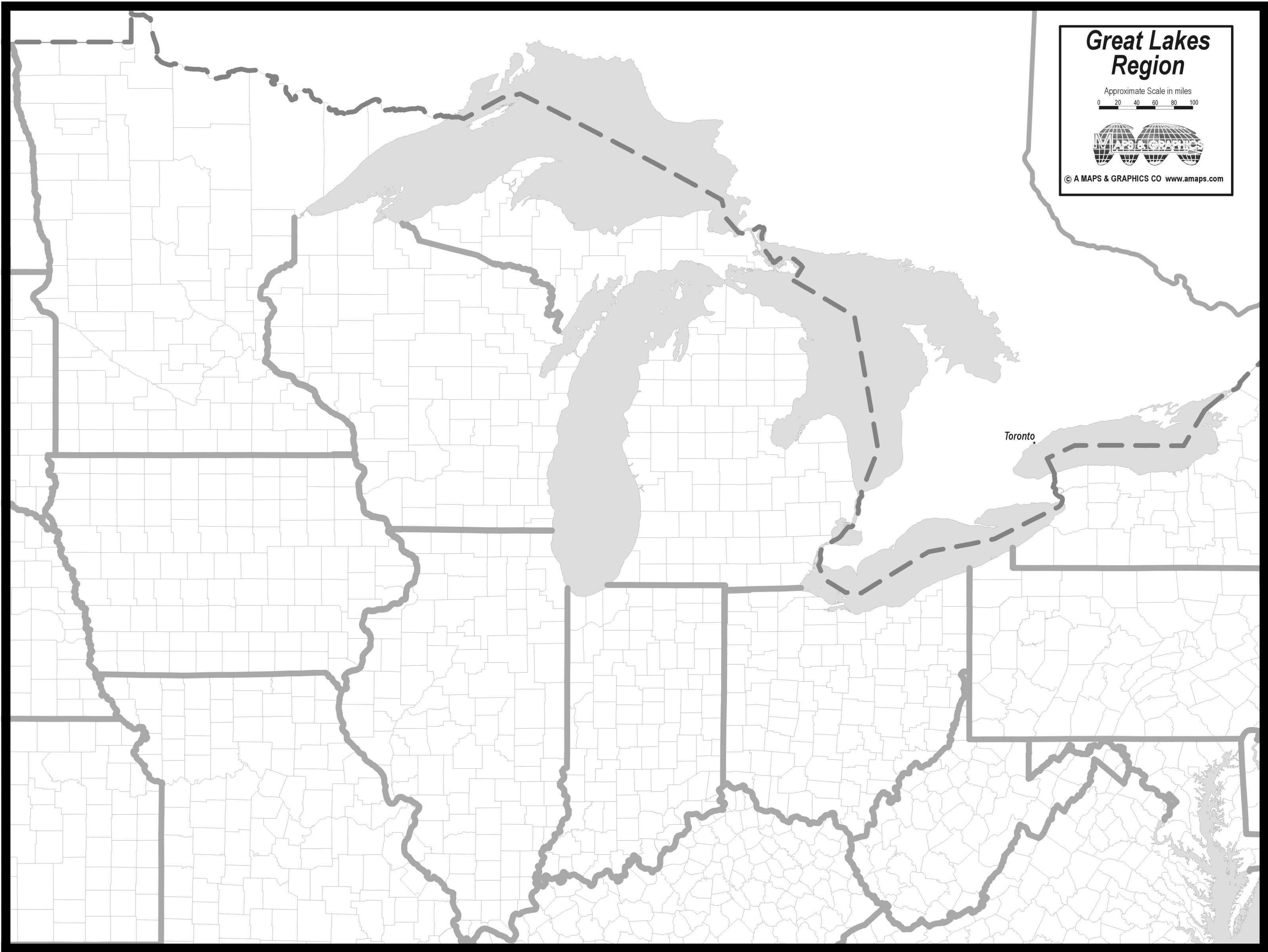 FREE MAP OF GREAT LAKES STATES | Great lakes map, Paddle to ...