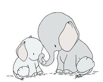 Elephant Nursery Art Print Baby Elephant от SweetMelodyDesigns