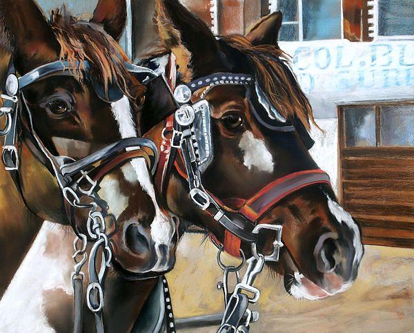 Rest Stop Galveston Texas Artist Rae Andrews Medium Painting - Pastel On Board Unframed painting of horses in pastel on board