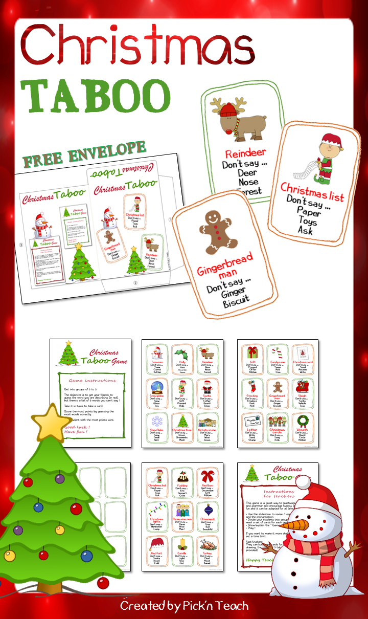Christmas Taboo Game Slideshow Free Envelope Taboo Game Word Games For Kids English Activities For Kids
