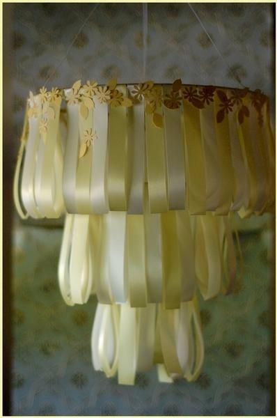 Ribbon Chandelier: DIY Ribbon Chandelier- gorgeous for a child room or nursery