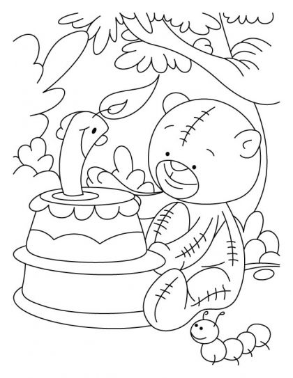Candle smiling on teddy bears birthday coloring pages | for that ...
