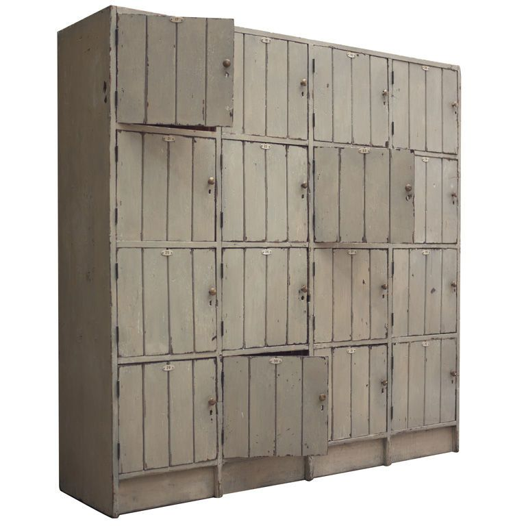 Wood Locker Style Storage Cabinet | From a unique collection of antique and modern cupboards at https://www.1stdibs.com/furniture/storage-case-pieces/cupboards/