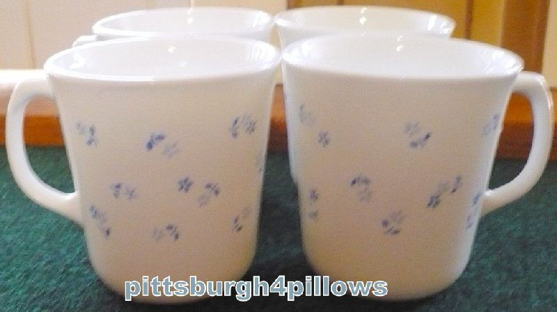 4 - Corning -  Provincial Blue Coffee Cups / Mugs - EUC - 8 Ozs. by pittsburgh4pillows on Etsy