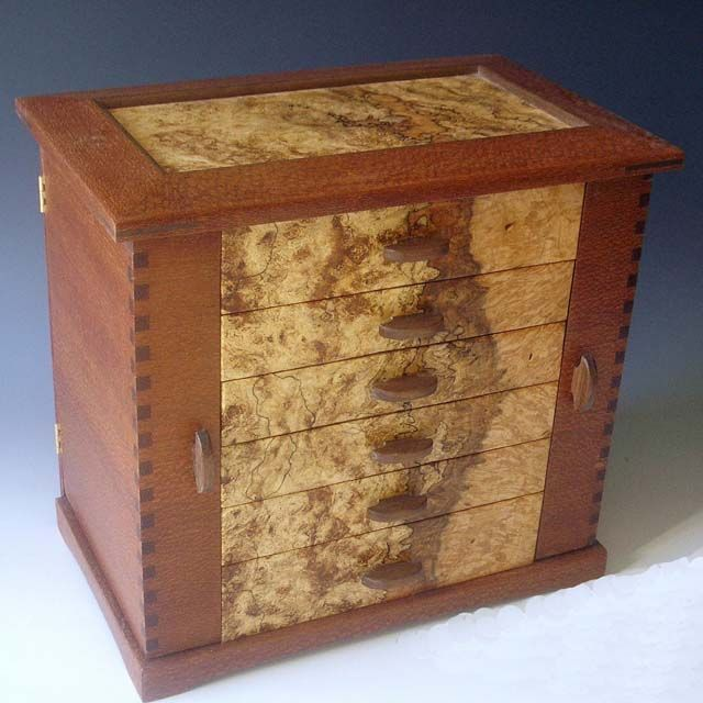 Handmade wooden jewelry box made of exotic wood with two for Handmade wooden jewelry box