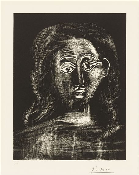 Artwork by Pablo Picasso, Jacqueline with fuzzy hair, bust ...