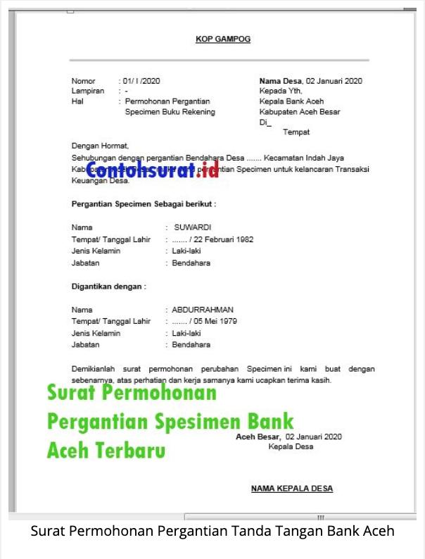 Contoh Surat Permohonan Pergantian Spesimen Bank Aceh Surat Buku Keuangan