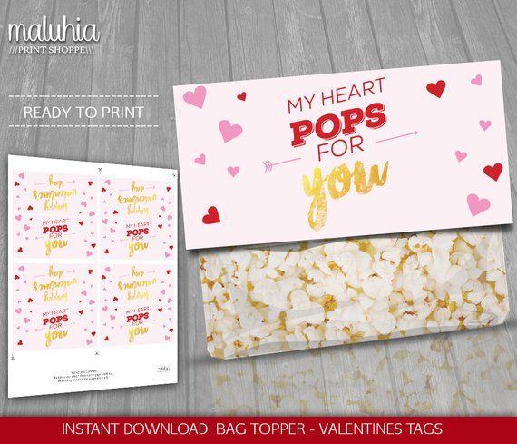 Valentines Popcorn Bag Toppers Printable - INSTANT DOWNLOAD