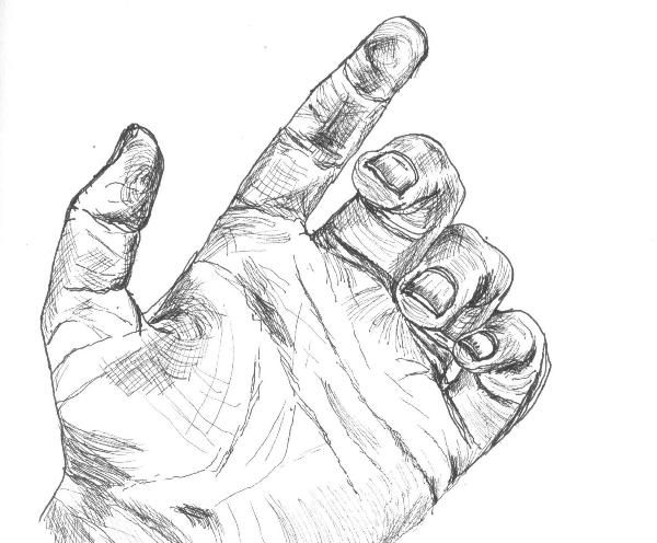 Black line drawing of the palm of a hand