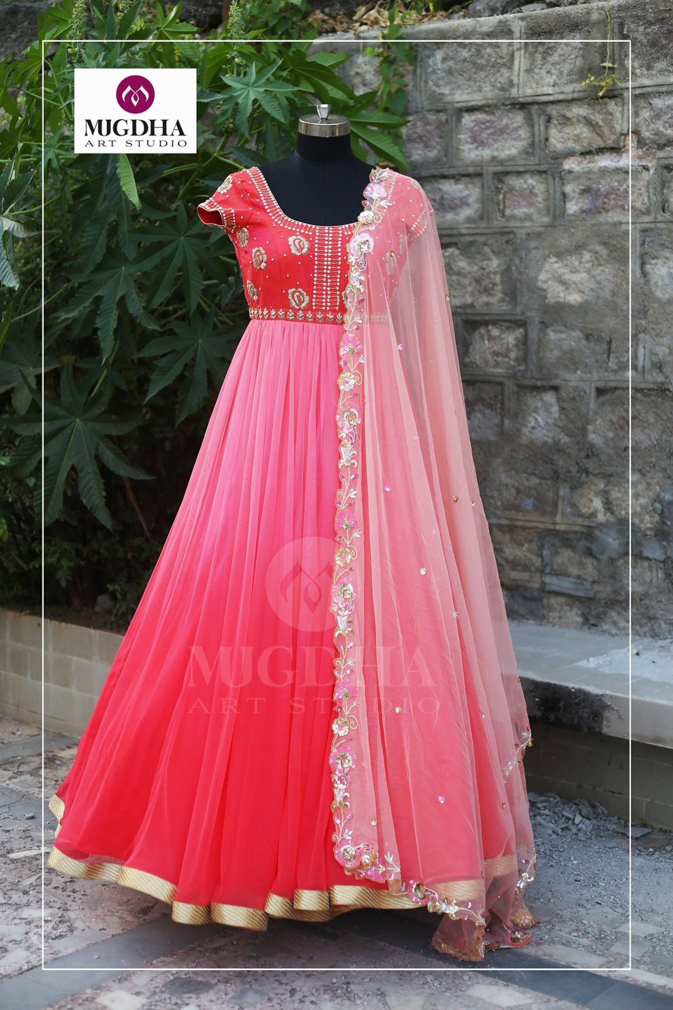 Pink Pink Pink.. Here is the Ladies Favorite Color Pink Lehenga with Beautiful hand made design 