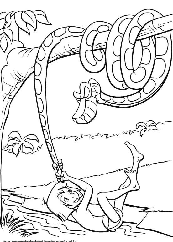 Mowgli with kaa the python coloring pages jungle book for Jungle book coloring pages for kids