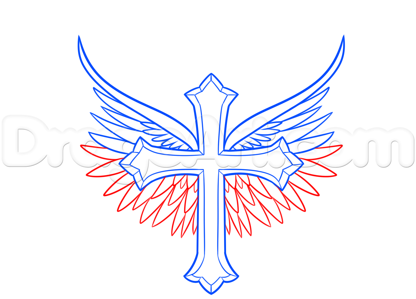 how to draw a cross with wings step 4 | tattoo | Pinterest