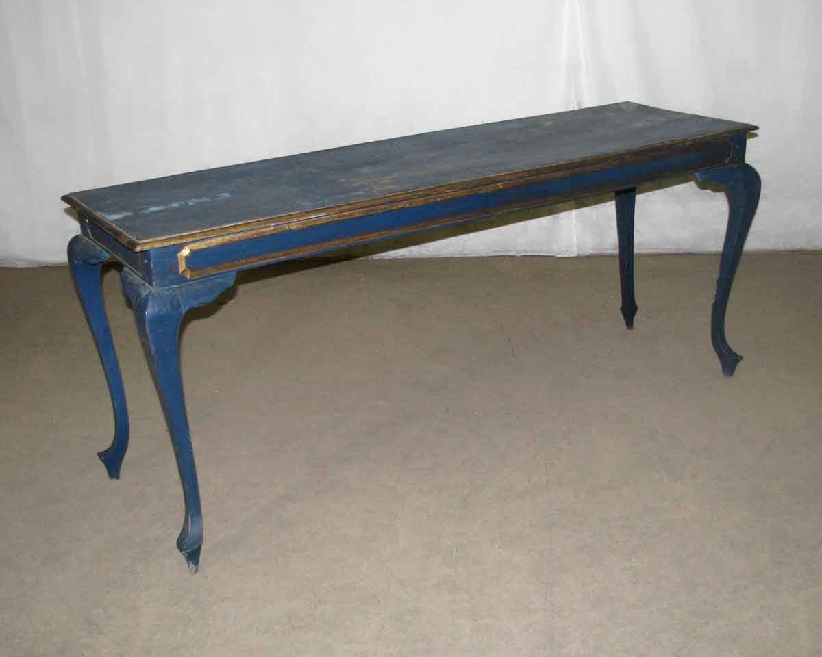 Narrow Blue Table with Gold Colored Accents