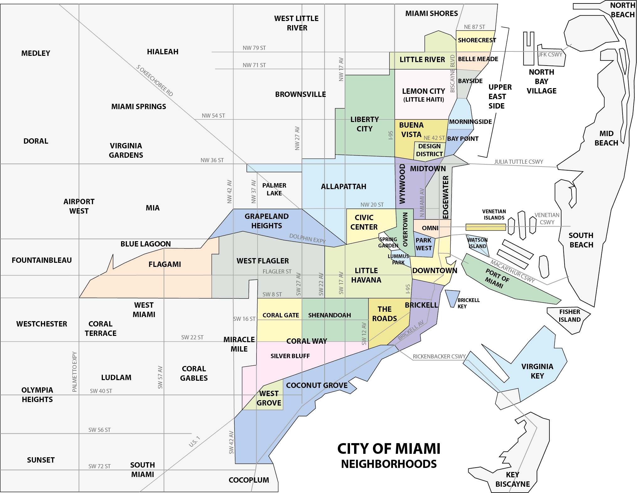 Coconut Grove Florida Map.Coconut Grove Neighborhood Of The City Of Miami Miami Florida
