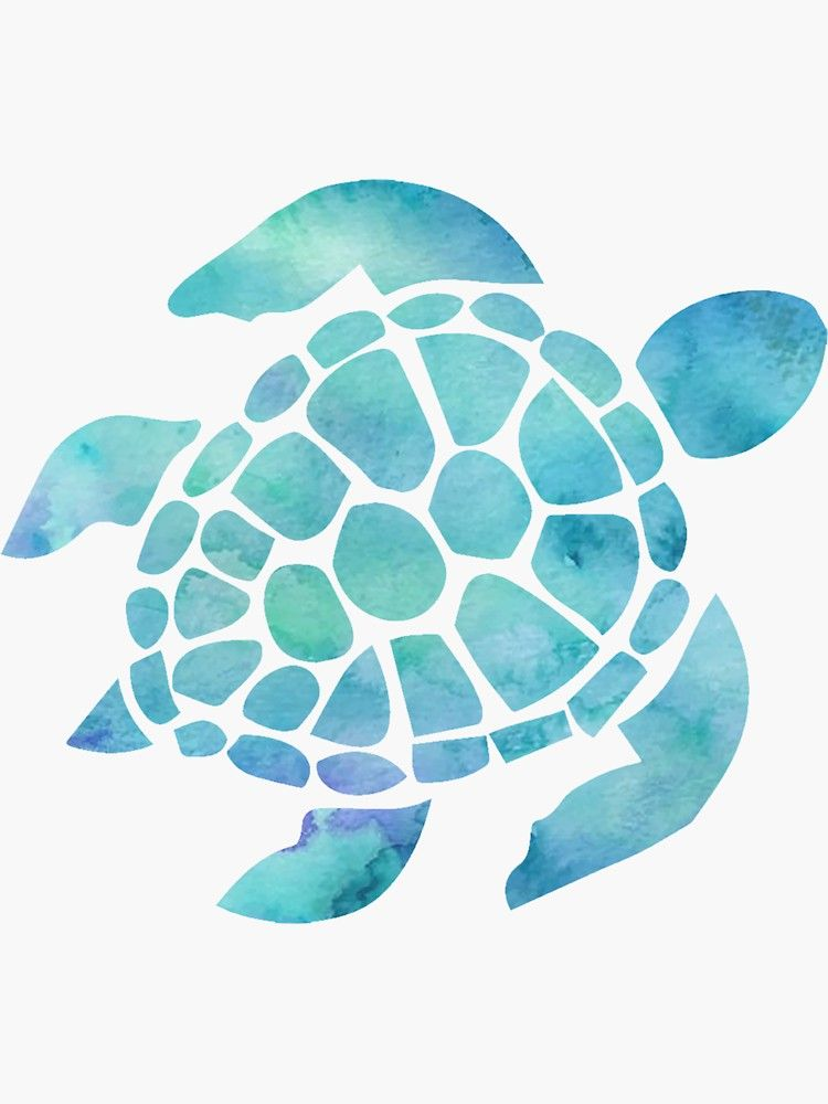 Sea Turtle Watercolor Blue Sticker In 2020 Turtle Painting