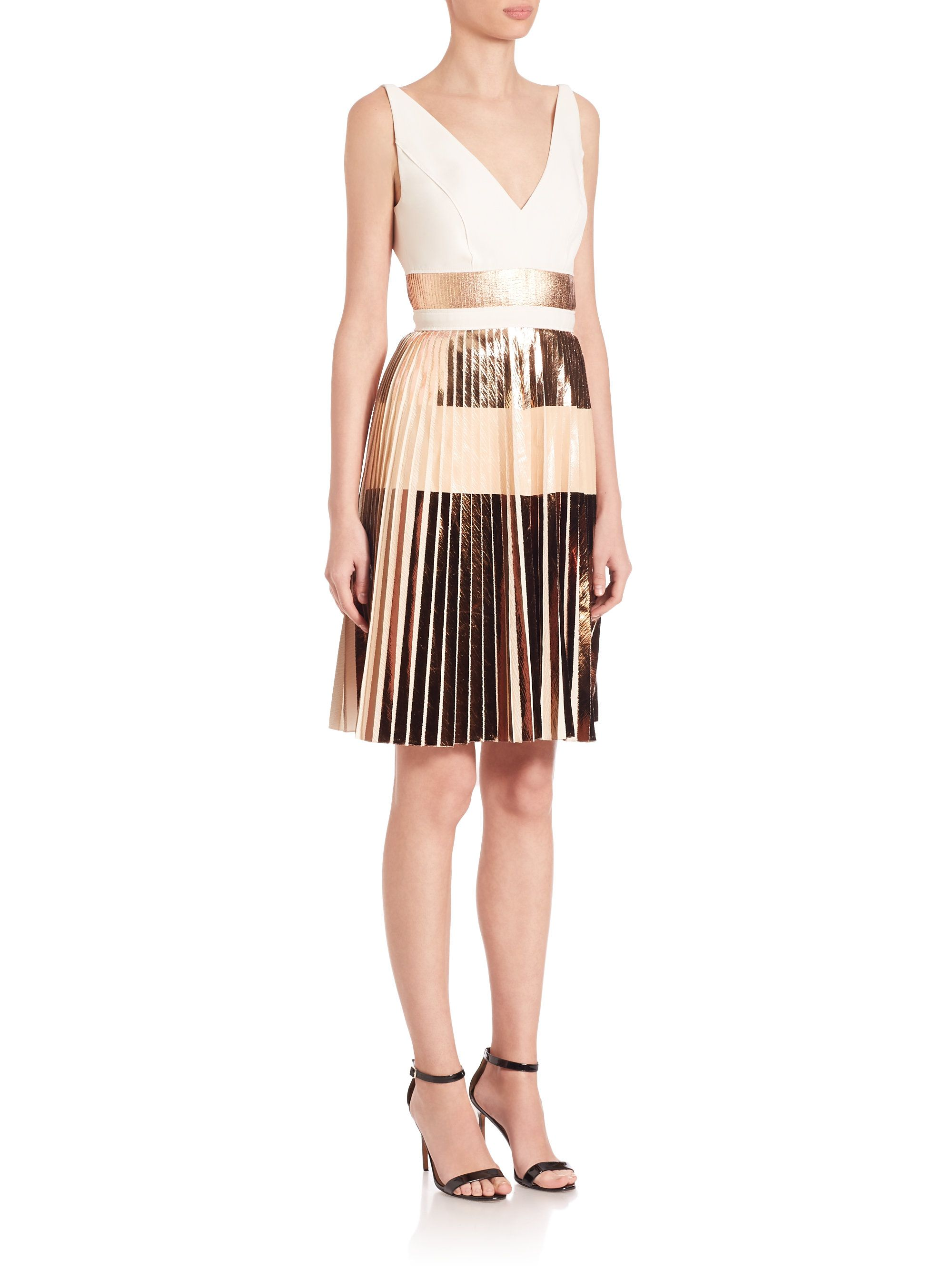 a40d7b88 Proenza Schouler   Pink Pleated Metallic Stripe Cocktail Dress   Lyst