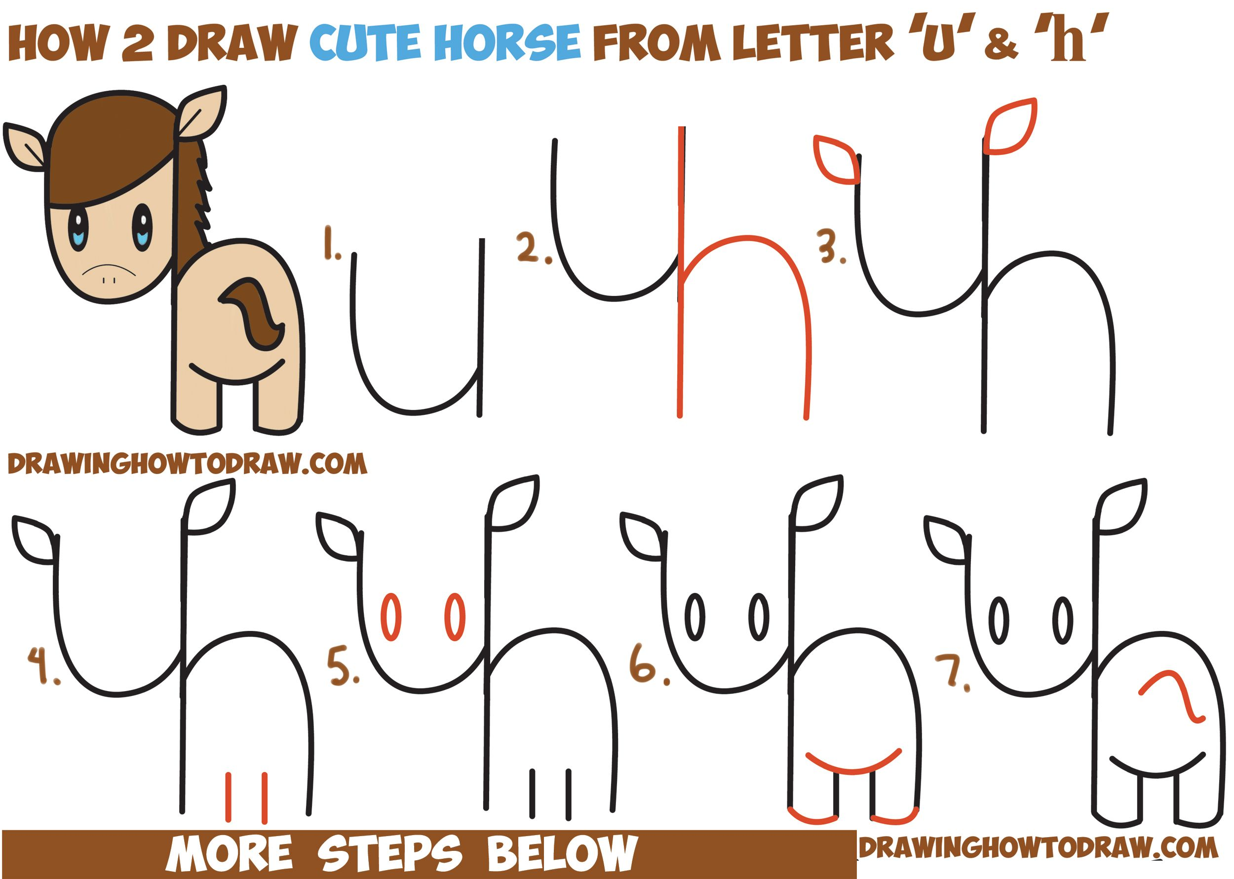 How to Draw a Cute Kawaii Chibi Horse from Letters and Simple