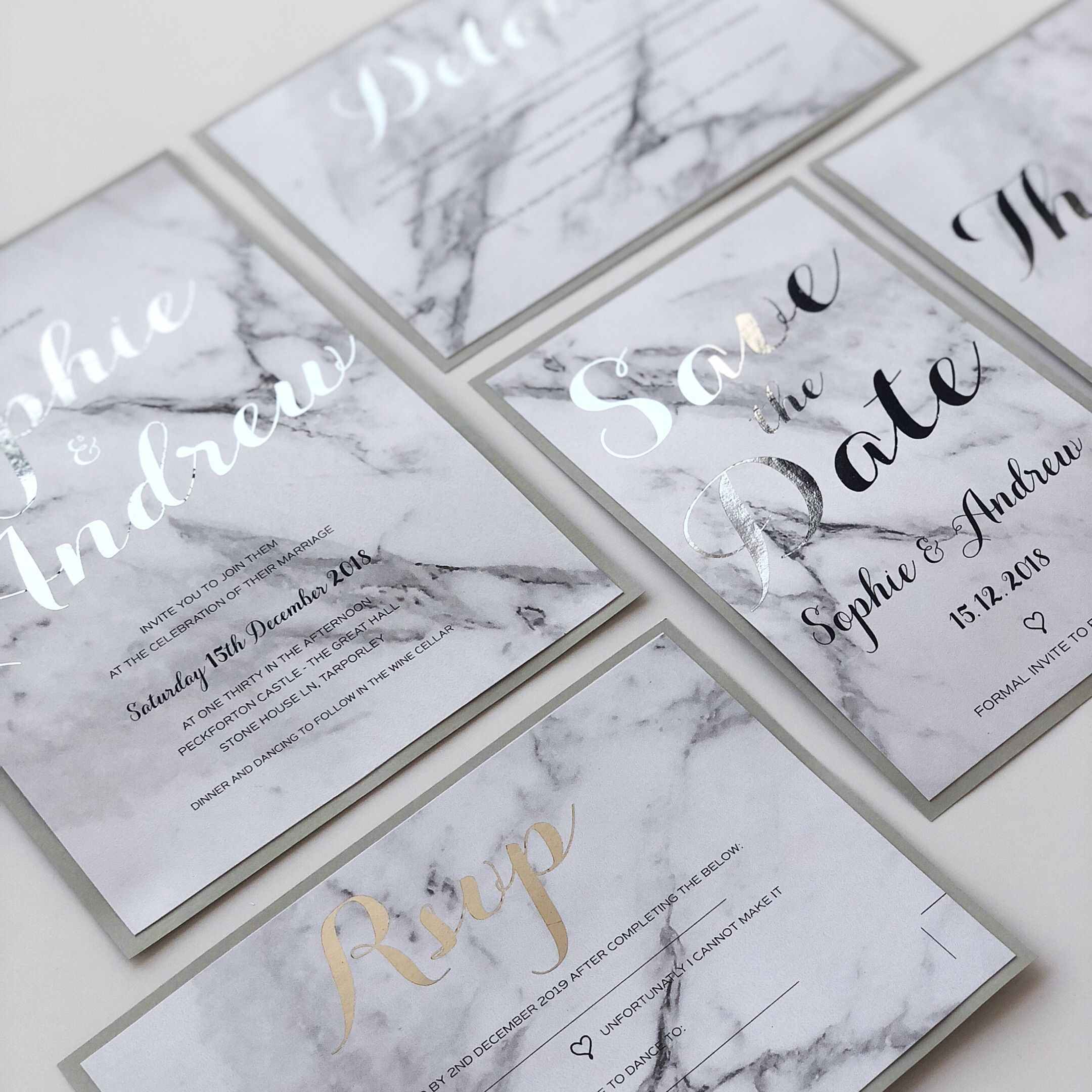 The Marble Wedding Invite Suite Together As One., A