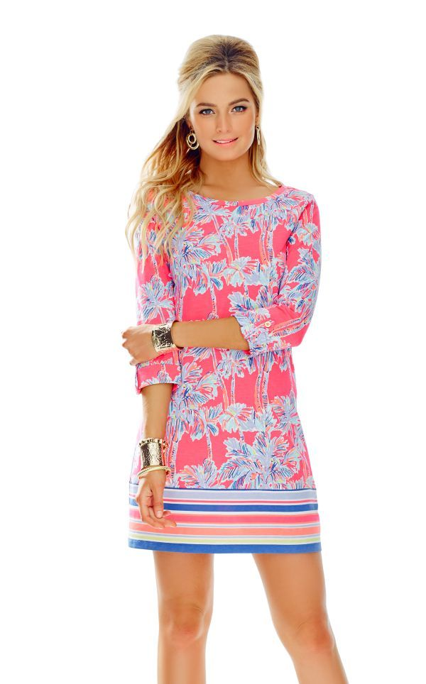 2351f5e45da44 Linden A-Line T-Shirt Dress - Lilly Pulitzer Flamingo Pink Nice Stems  Engineered Linden Dress