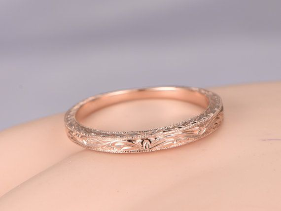 Solid 14k rose gold wedding band filigree eternity ring floral