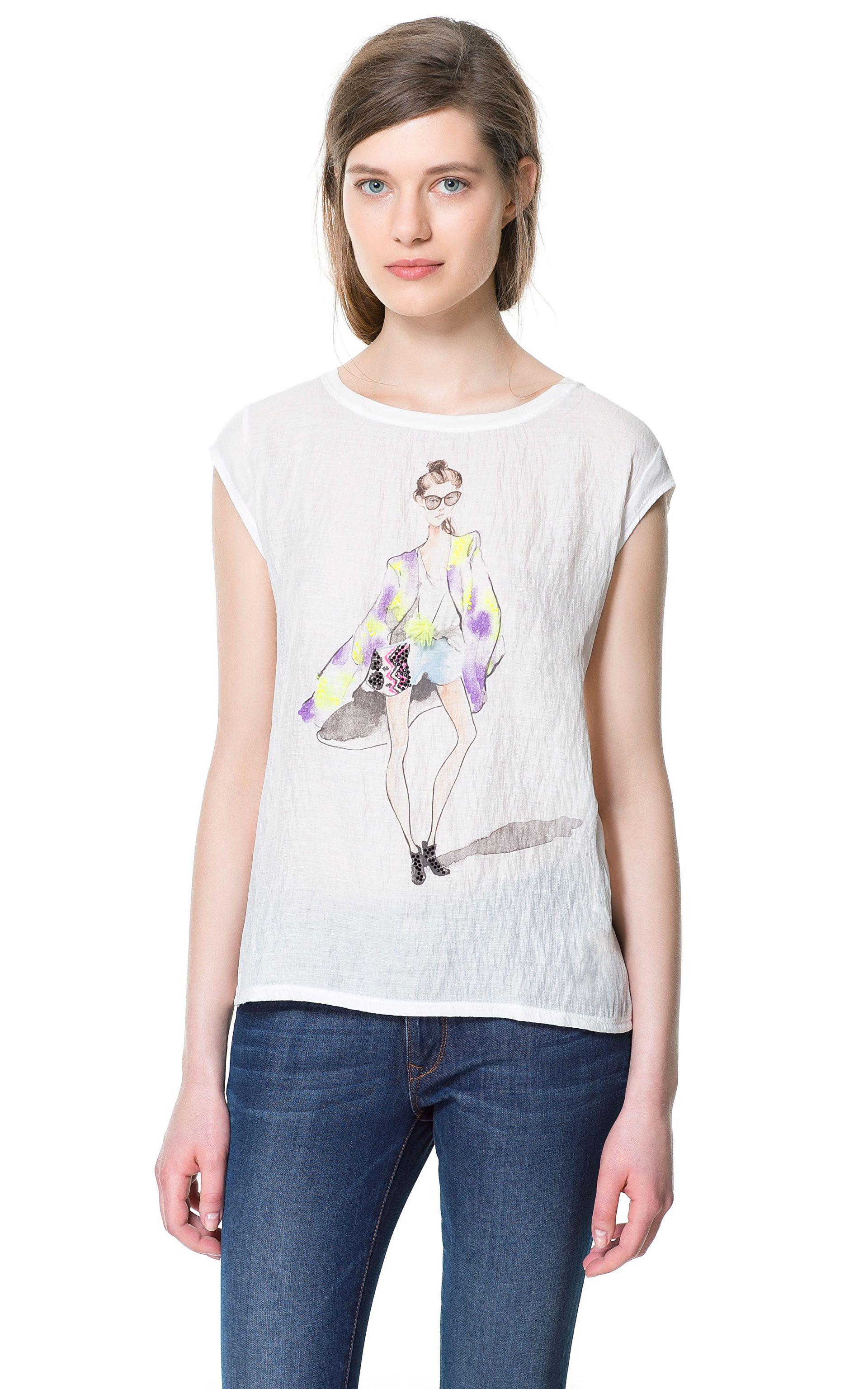 Camiseta Estampada Camisetas Mujer Zara Espana Zara Fashion My Style