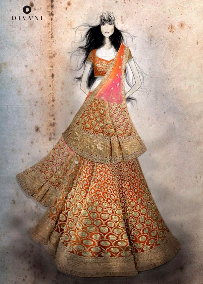 Indian Wedding Couture Fashion Illustration Dresses Dress Design Drawing Illustration Fashion Design