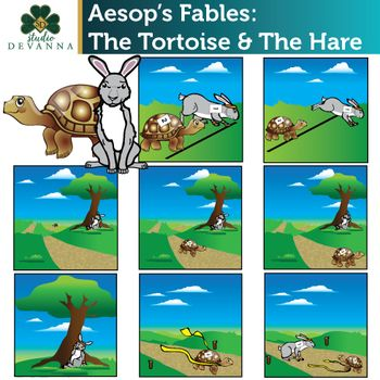 Aesop S Fables The Tortoise And The Hare Clip Art Set With