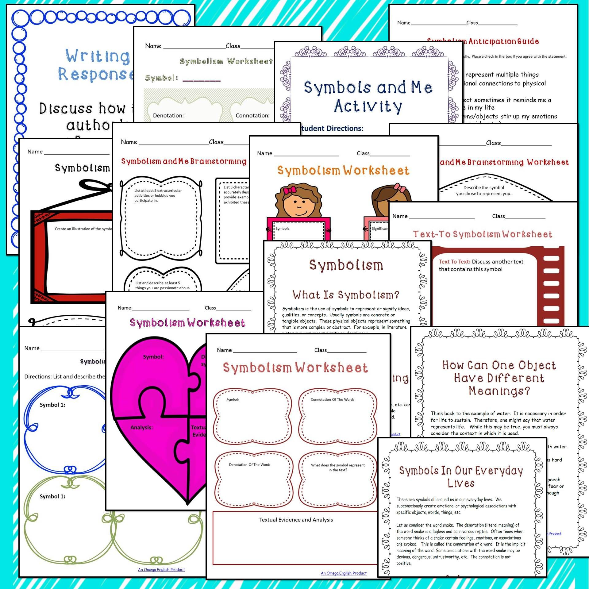 Symbolism Graphic Organizers And Handout High School