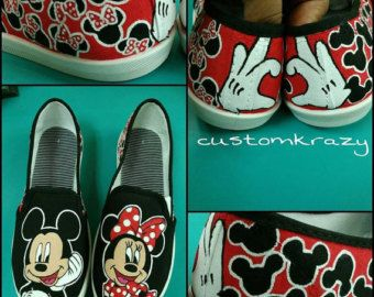 VANS VERSION Hand Painted Mickey Mouse Minnie Mouse