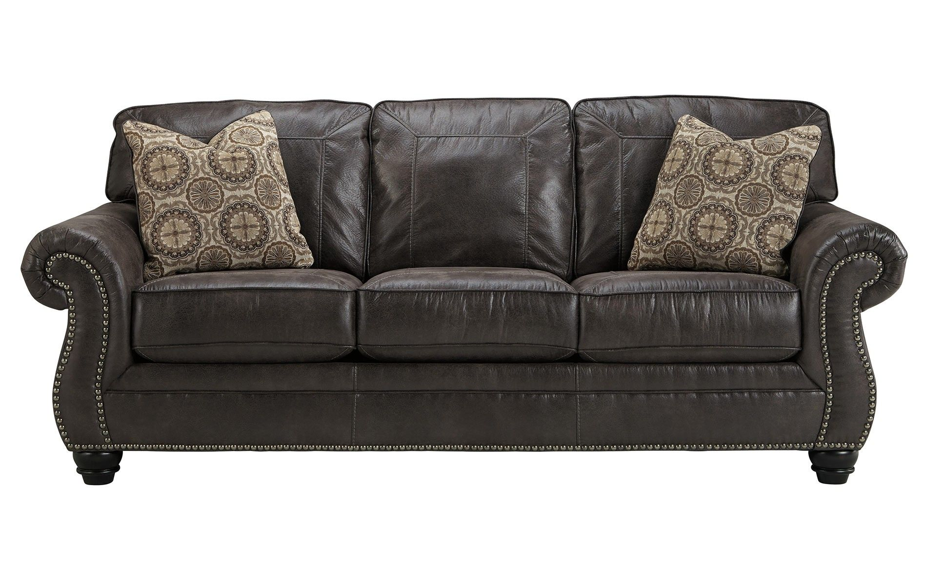 black leather sofa with nailheads how to clean covers at home ashley breville charcoal family room ideas