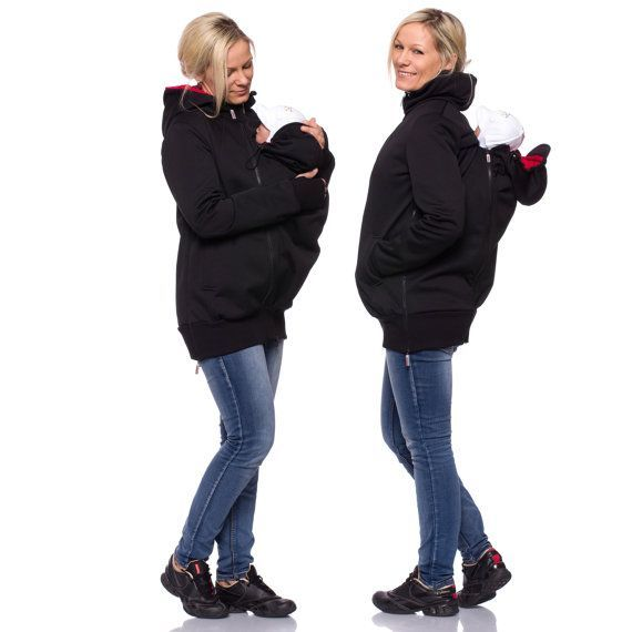 Viva la Mama | The Softshell baby carrying jacket ALBATROS (water-repellent, windproof, black) has the baby wearing options in front of your body or on the back. It is your perfect outdoor jacket for pregnancy, maternity, baby wearing and everyday use. Mommy and baby are protected from rain, wind and cold. Ideal companion for outdoor and mountain moms! :)