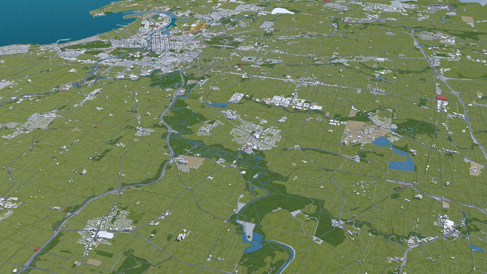 Melbourne City 3D Model Australia 100km in 2020 City