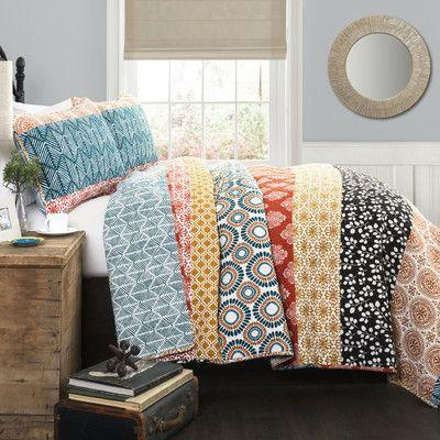 3 Piece Full//Queen Quilt Set Color Amazing Lodge Design Stripe Pattern
