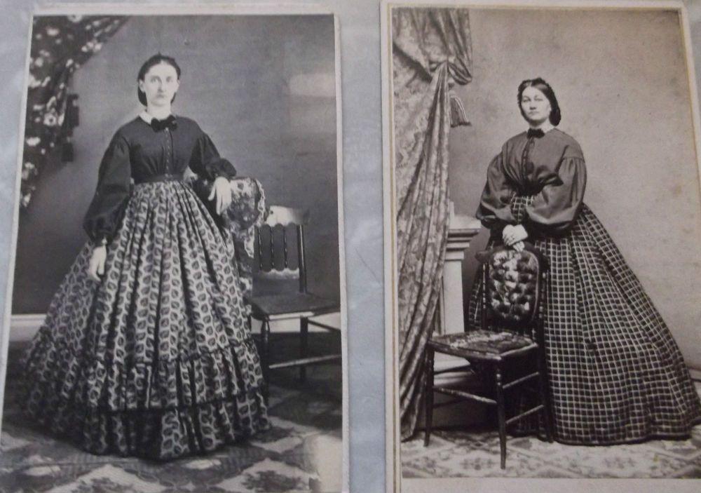 2 cdvs of women in hoop dresses