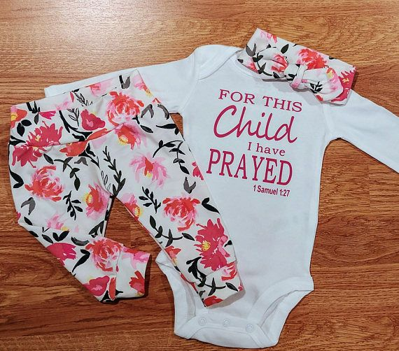 Photo of Baby Girl Going Home Outfit, FOR THIS Child I have PRAYED, baby shower newborn gift baptism religious Christian Catholic take home floral