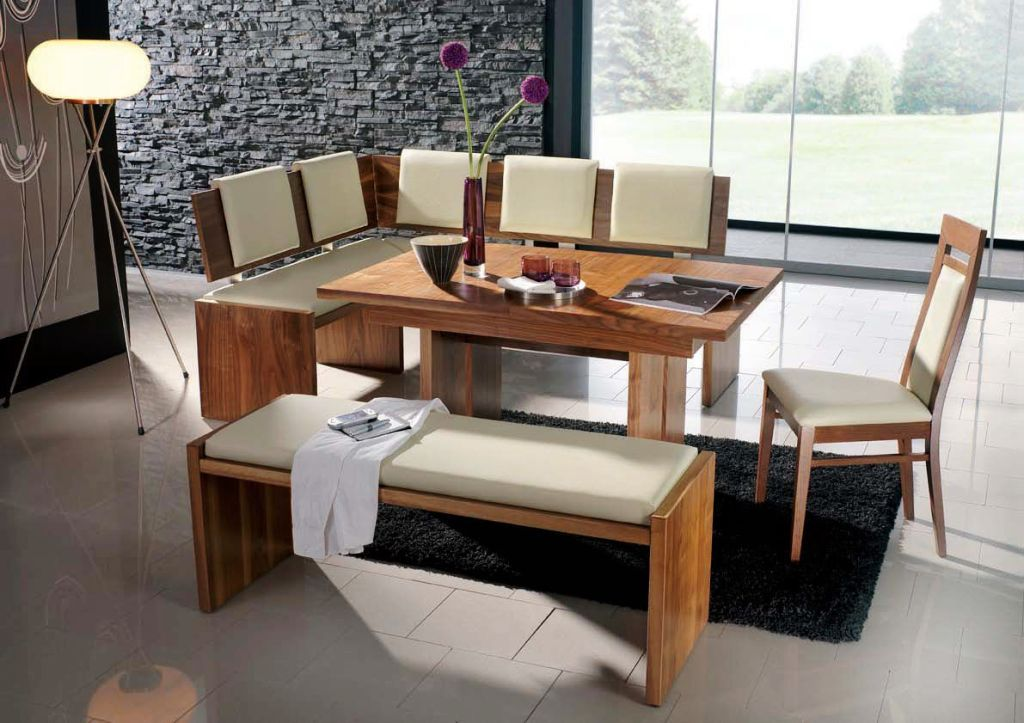 White Cushioned Dining Bench L Shaped Dining Bench With White