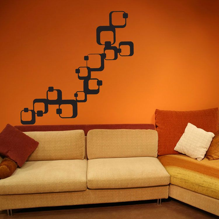 Orange Walls geometric squares vinyl wall decals | walls | pinterest | orange