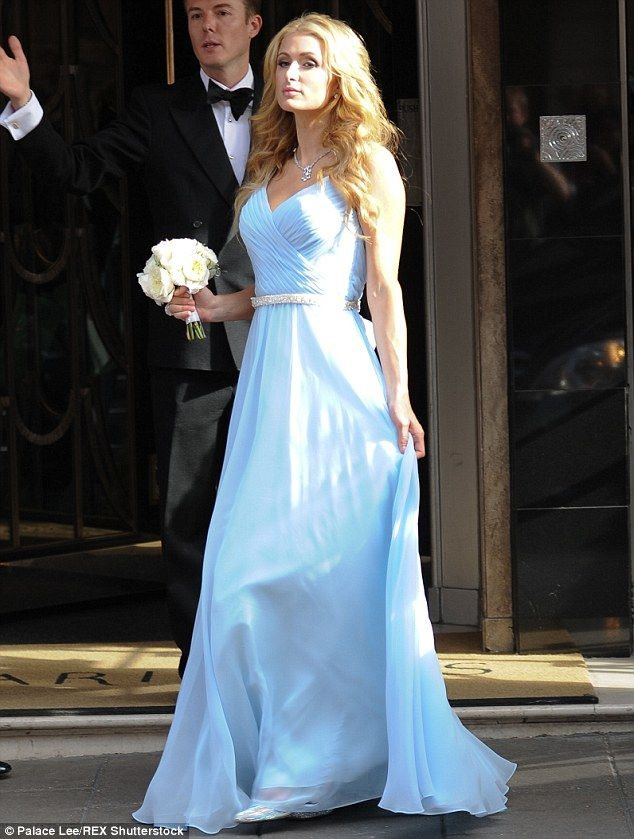 Paris Hilton Wears Powder Blue Dress To Sister Nickyu0027s Wedding