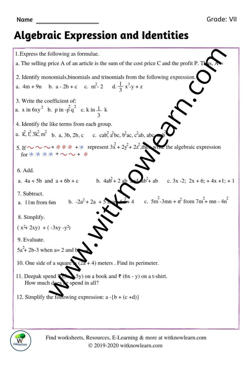 Algebraic Expression And Identities Worksheet In 2020 Algebraic Expressions Simplifying Algebraic Expressions Mathematical Expression