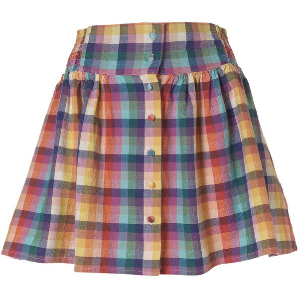 Pale Check Button Skirt ($14) ❤ liked on Polyvore featuring skirts, topshop, women, checkered skirt, cotton skirts, checked skirt, colorful skirts and multicolor skirt